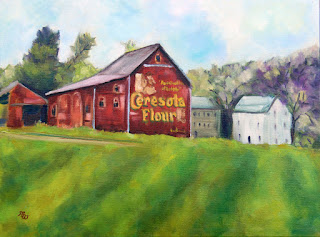 Ceresota Flour red barn advertising original oil painting by Pennsylvania artist Merrill Weber