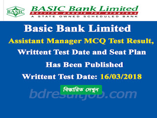 Basic Bank Limited Assistant Manager MCQ Test Result, Written Test Date and Seat Plan