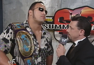 WWE / WWF Summerslam 1998 - Intercontinental Champion The Rock talks to Michael Cole