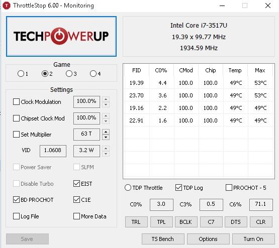 menu de opções do throtllestop 6.0