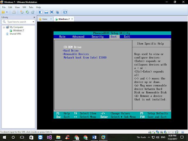 Cách Khởi động máy ảo VMWare Workstation từ USB Boot