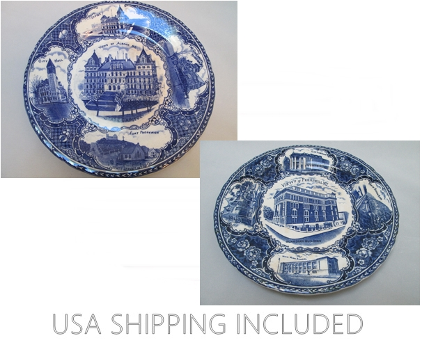 Flow Blue Antique English Plates N.Y. Views of Peekskill and Albany