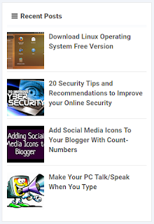 Recent Posts Widget With Thumbnail for Blogger