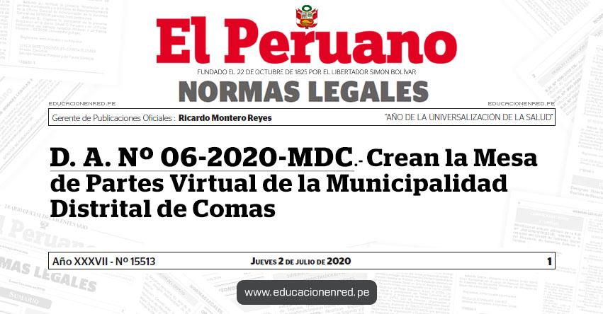D. A. Nº 06-2020-MDC.- Crean la Mesa de Partes Virtual de la Municipalidad Distrital de Comas