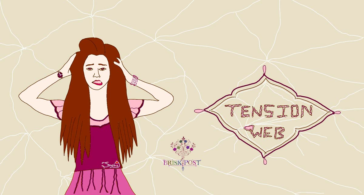 Stressed girl cartoon by Sneha: Fashionable girl scratching head in tension headache