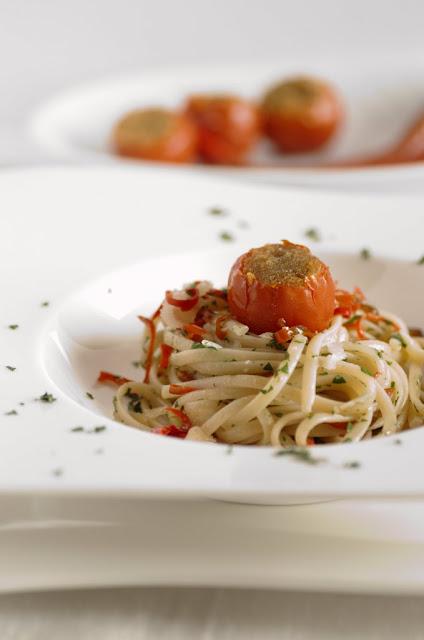 Linguine con pomodori Pachino grigliati