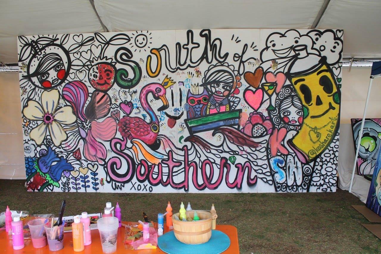 Kosharek Art: Coloring Book Mural for South of Southern Festival