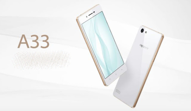 "Oppo A33 Specifications - LAUNCH Announced 2015, November DISPLAY Type IPS LCD capacitive touchscreen, 16M colors Size 5.0 inches (~67.4% screen-to-body ratio) Resolution 540 x 960 pixels (~220 ppi pixel density) Multitouch Yes  - Color OS 2.1 BODY Dimensions 142.7 x 71.7 x 7.6 mm (5.62 x 2.82 x 0.30 in) Weight 146 g (5.15 oz) SIM Dual SIM (Nano-SIM/ Micro-SIM) PLATFORM OS Android OS, v5.1 (Lollipop) CPU Quad-core 1.2 GHz Cortex-A53 Chipset Qualcomm MSM8916 Snapdragon 410 GPU Adreno 306 MEMORY Card slot microSD, up to 128 GB (dedicated slot) Internal 16 GB, 2 GB RAM CAMERA Primary 8 MP, autofocus, LED flash Secondary 5 MP Features 1/4"" sensor size, 1.4 µm pixel size, geo-tagging, touch focus, face detection, HDR, panorama Video Yes NETWORK Technology GSM / HSPA / LTE 2G bands GSM 850 / 900 / 1800 / 1900 - SIM 1 & SIM 2 3G bands HSDPA 850 / 900 / 1900 / 2100  TD-SCDMA 4G bands LTE band 1(2100), 3(1800), 38(2600), 39(1900), 40(2300), 41(2500) Speed HSPA, LTE GPRS Yes EDGE Yes COMMS WLAN Yes GPS Yes, with A-GPS USB microUSB v2.0, USB Host Radio v4.0, A2DP FEATURES Sensors Sensors Accelerometer, proximity, compass Messaging SMS (threaded view), MMS, Email, Push Email Browser HTML5 Java No SOUND Alert types Vibration; MP3, WAV ringtones Loudspeaker Yes 3.5mm jack Yes BATTERY  Non-removable Li-Po 2400 mAh battery Stand-by p to 250 h (3G) Talk time Up to 8 h (3G) Music play  MISC Colors White  - MP4/H.264/FLAC player - MP3/eAAC+/WAV player - Document viewer - Photo viewer/editor"