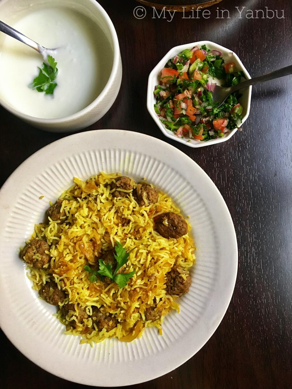 Kalam Polow Ba Zafaran and Kofte floor pork or lamb