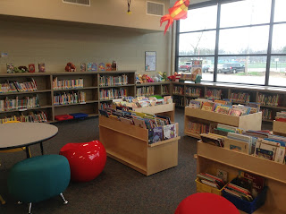 Renovated school library in Huron, SD: Seating and shelving