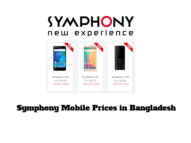 Symphony Mobile Prices in Bangladesh