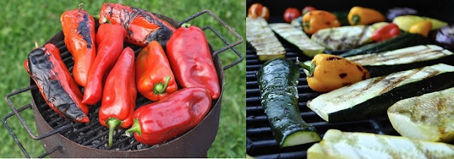grilled peppers and zucchini salad with mint onion relish recipe