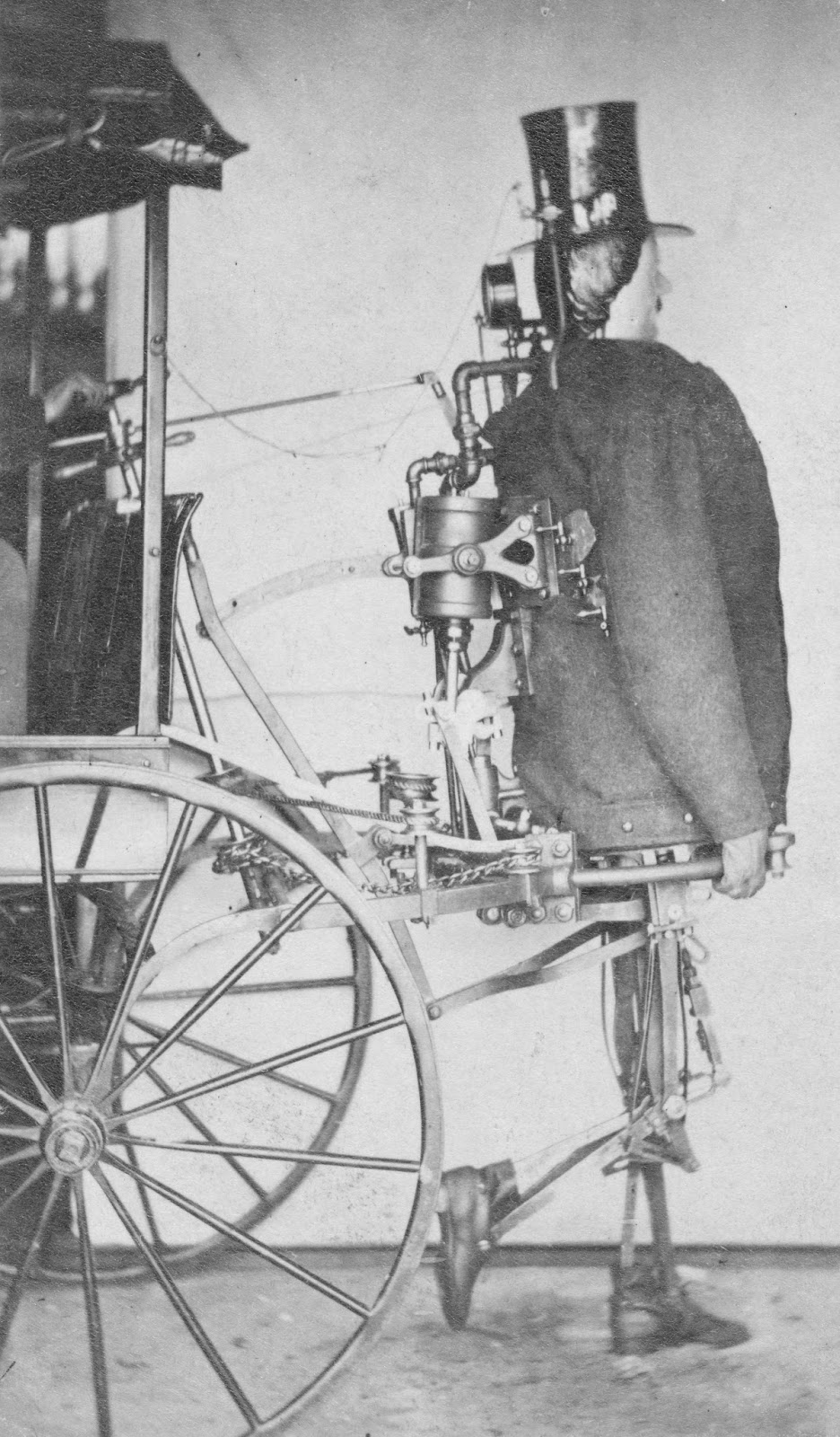 Carte De Visite Of American Inventor Zadoc Dedericks Steam Powered Humanlike Walking Automaton Pulling A Cart 1868