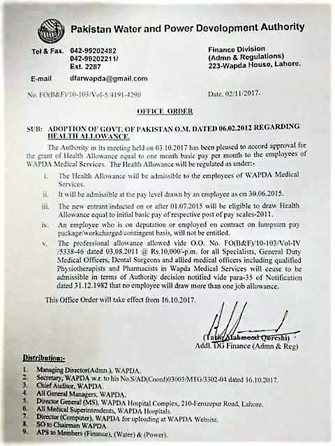 GRANT OF HEALTH ALLOWANCE EQUAL TO ONE MONTH BASIC PAY TO THE EMPLOYEES OF WAPDA MEDICAL SERVICE