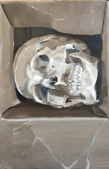 Human skull in a cardboard box, daily painting by Philine van der Vegte