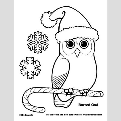 Christmas owl coloring page 3