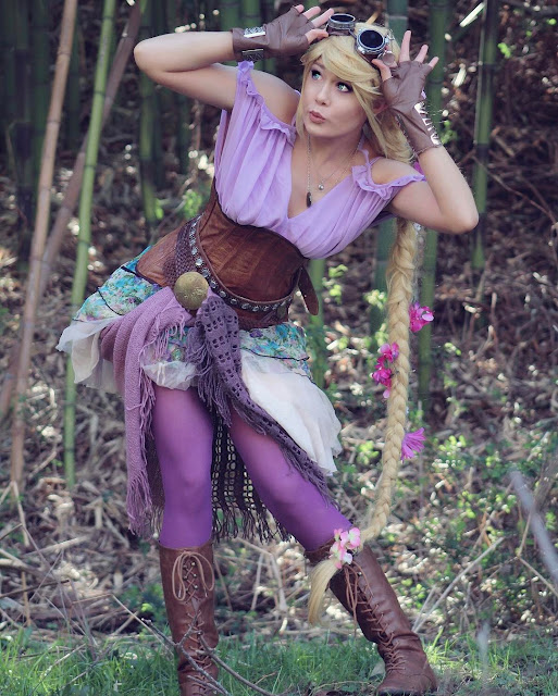 cosplayer dressed as steampunk princess rapunzel. disney costume/cosplay for women.