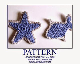 free crochet patterns, star, starfish, fish, motifs, applique,