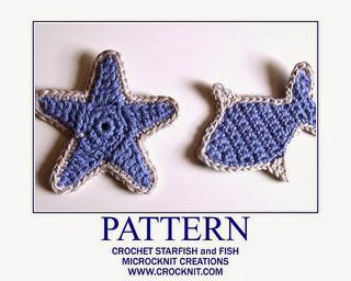 free crochet patterns, star, starfish, fish, motifs, applique,