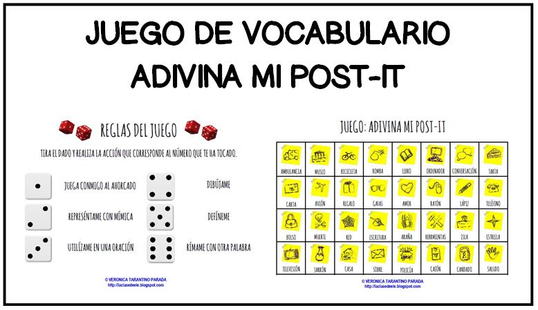 LACLASEDEELE: JUEGO DE VOCABULARIO: ADIVINA MI POST-IT