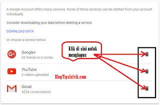 Cara Menghapus Salah Satu Produk Layanan Google Via PC