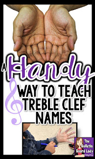 "Teach the treble clef lines and spaces with this ""handy"" trick that involves gloves!  Students leave with a crafty project that helps them read treble clef pitches!"