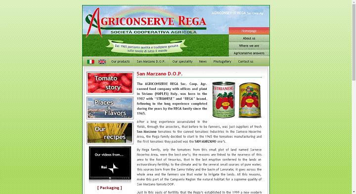 Picture to Italian food exporter company named Agriconserva Rega Soc. Coop. Agr
