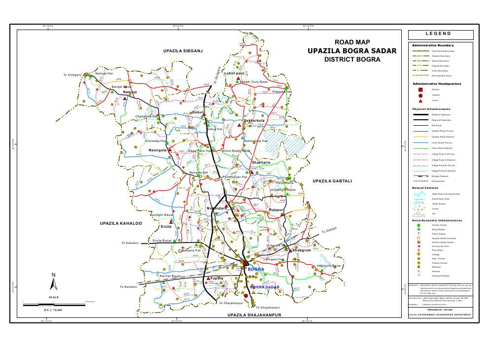 Bogra Sadar Upazila Road Map Bogra District Bangladesh