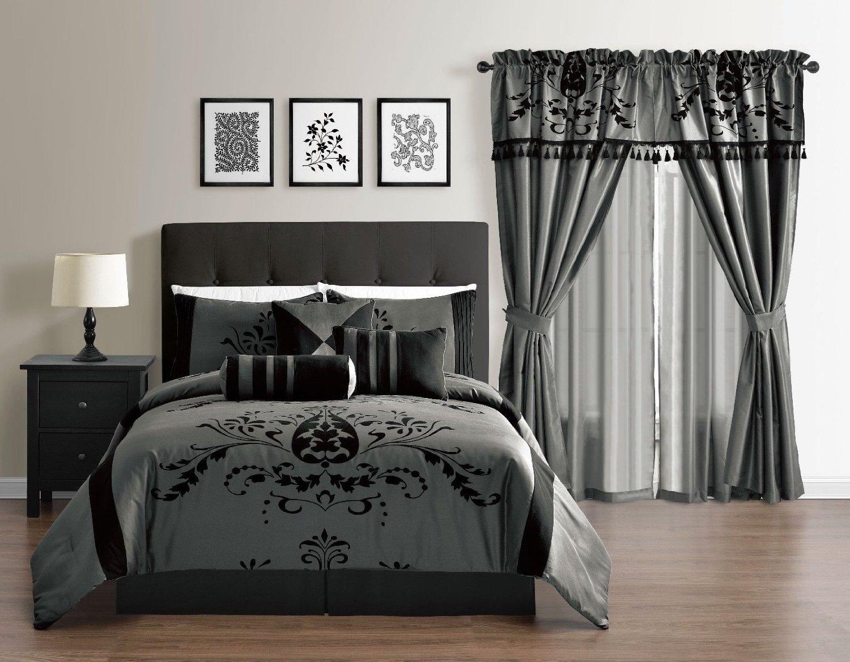 Bl black and grey bedding - Budget Wise Charcoal Grey Gray Black Flocking Comforter Set