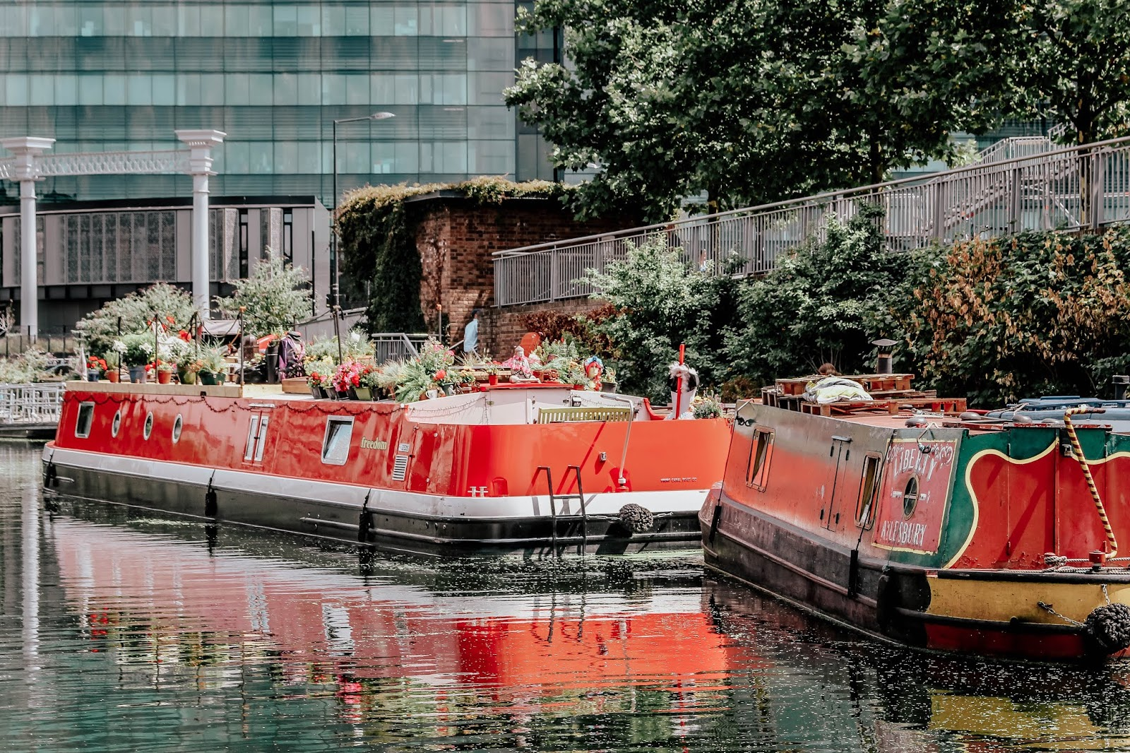 King's Cross Regent's Canal Pretty Red Barges