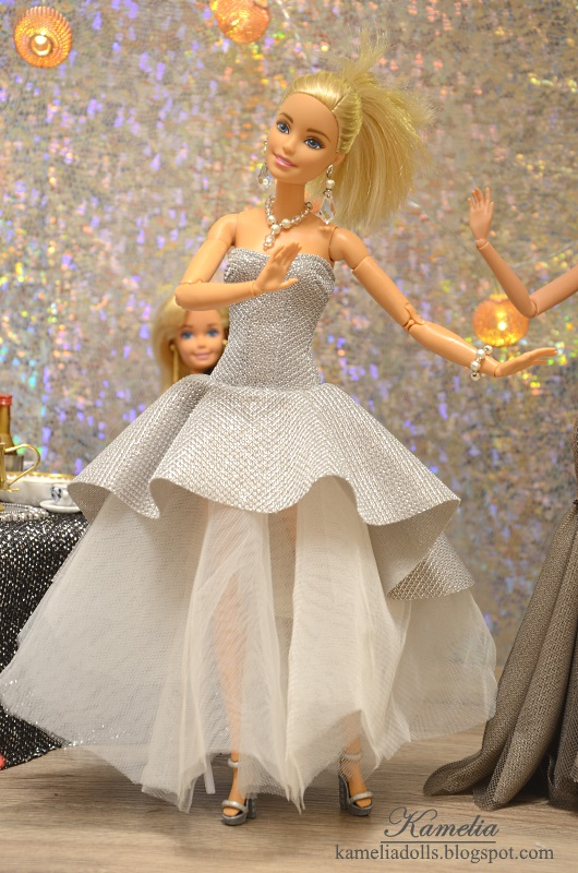 White and silver dress for Barbie doll.
