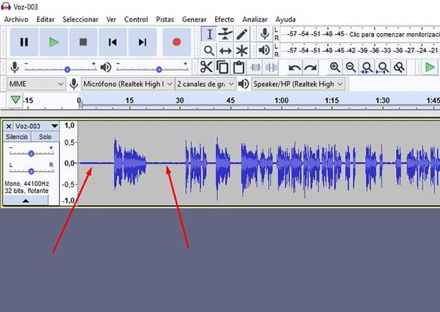 audio con ruido de fondo