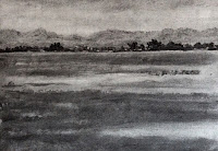 Using willow charcoal to block in the major shapes in a landscape