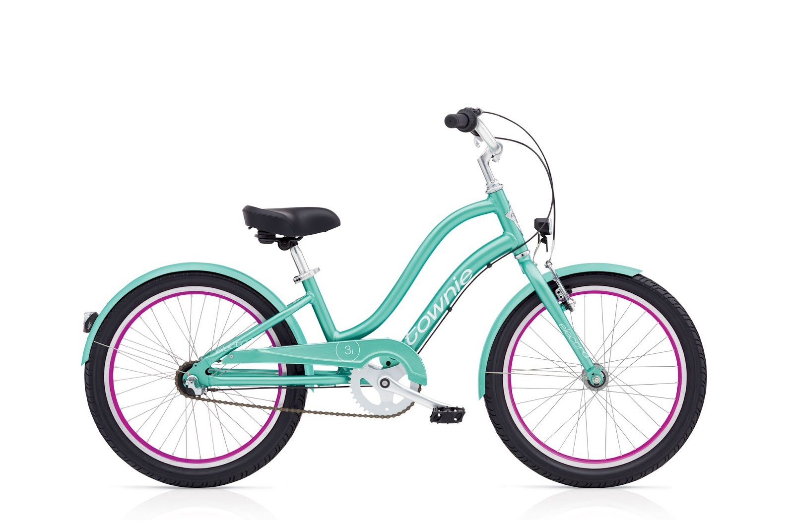 A mint green children's bike with pink accents on the wheels