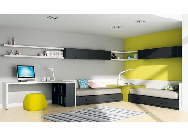 Como decorar un dormitorio juvenil for Mueble gris y blanco