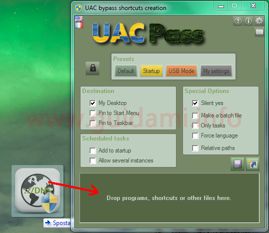 UAC Pass interfaccia del programma per Windows