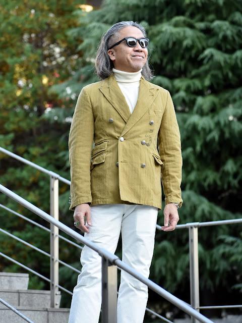 オリーブ テーラードジャケットのメンズ コーディネート