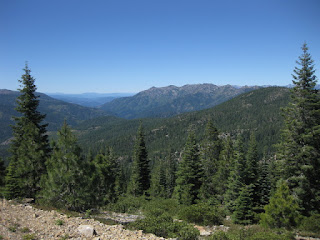 View of the Trinity Alps from W A Barr Road, Mt. Shasta, California
