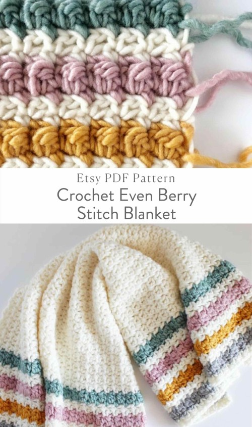 Crochet Even Berry Stitch Blanket - Free Pattern