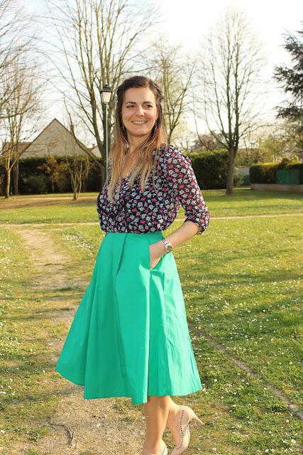 Jupe Frnch, blouse Claudie Pierlot, look du jour, mode, les petites bulles de ma vie