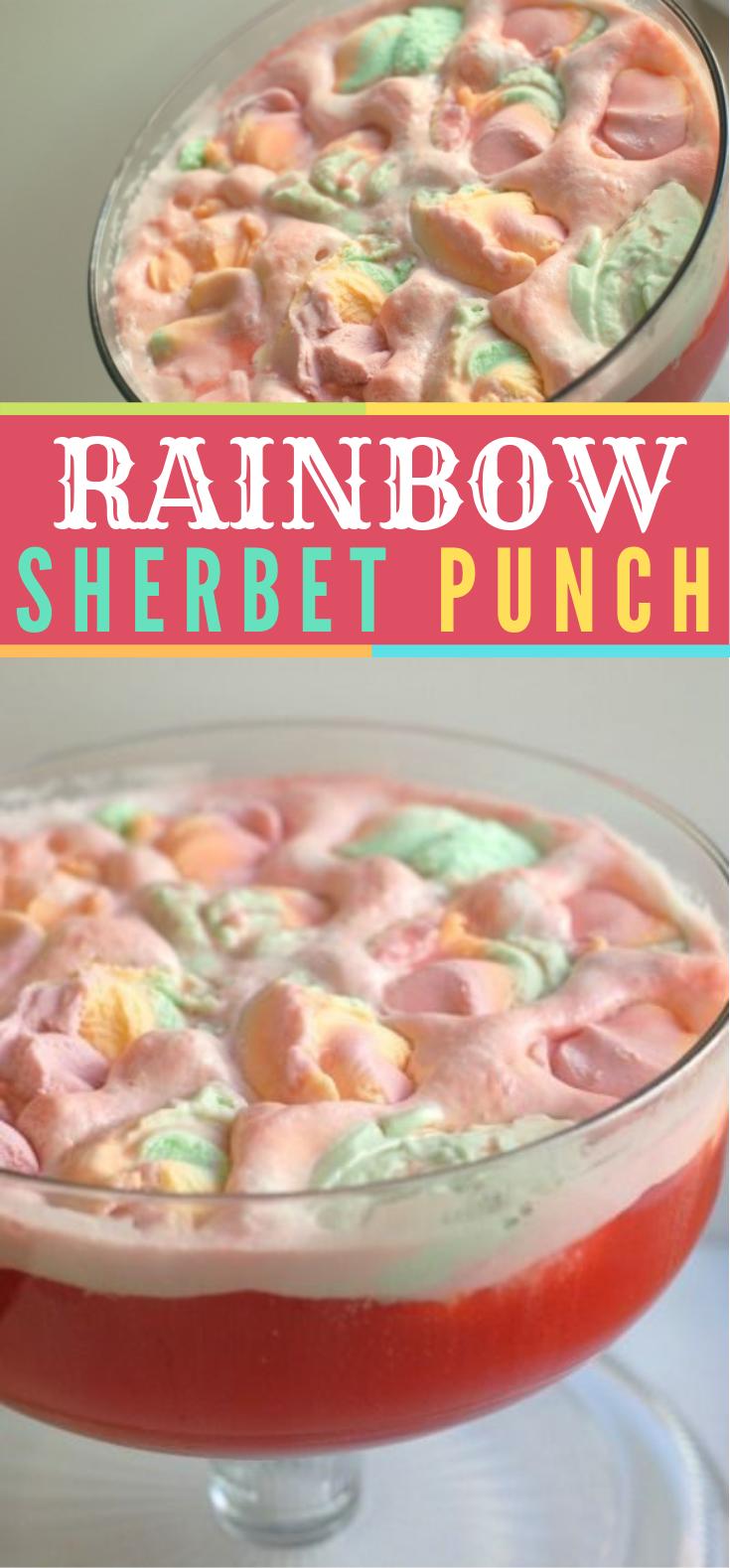 Rainbow Sherbet Punch #Drinks #Hawaiianpunch