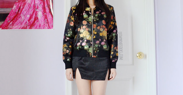 Black jacquard floral oriental embroidered bomber jacket from Shein, worn with black lace halter bralette and silk satin double skirt mini skirt.