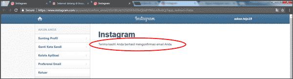 cara verifikasi instagram dengan email