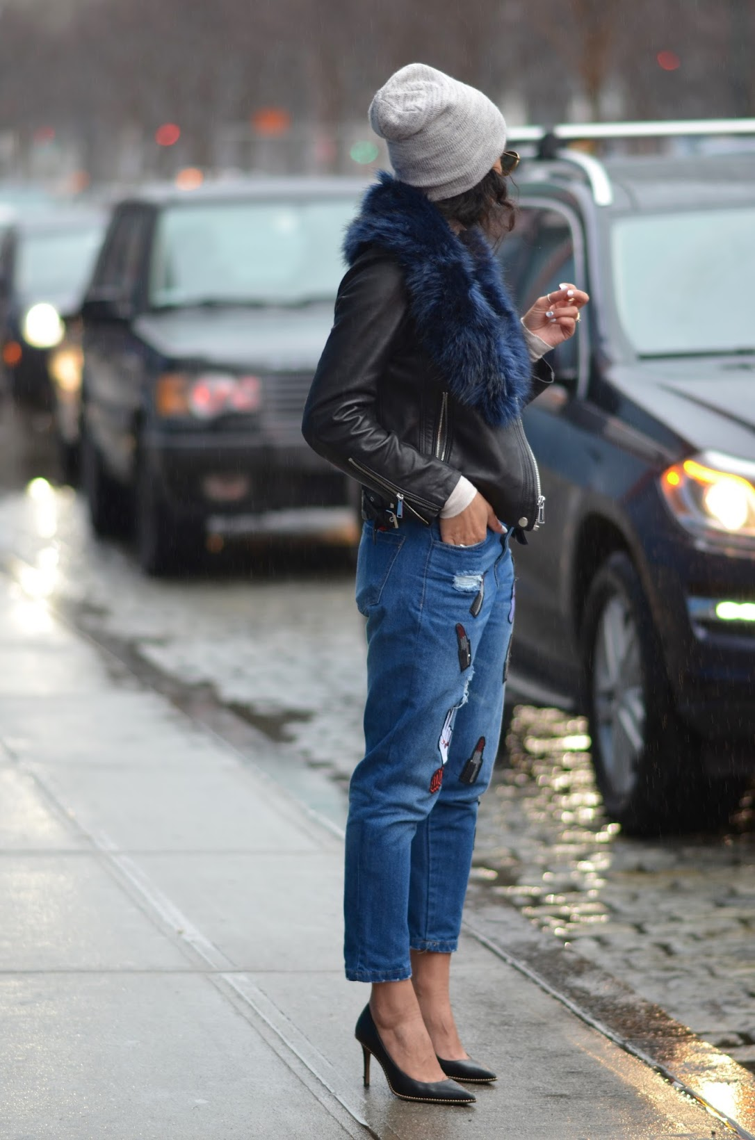 NYFW, faux fur, Coach moto jacket, 90's patch denim, mom jeans, how to wear mom jeans, winter at NYFW