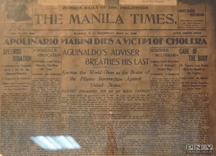 The Manila Times headline about Mabini's death