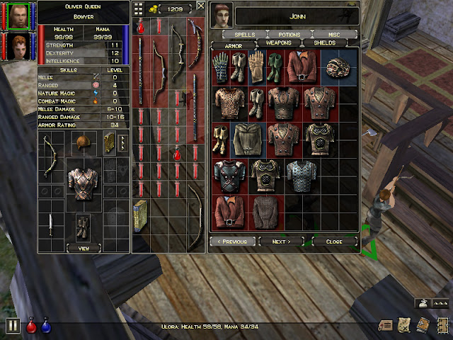 Dungeon Siege shop screen