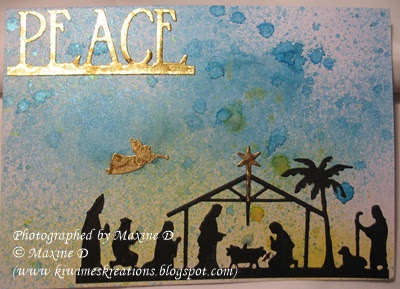 ODBD Custom Holy Night Dies, ODBD Custom Peace Border Die, ODBD Customer Card of the Day Created by Maxine D.