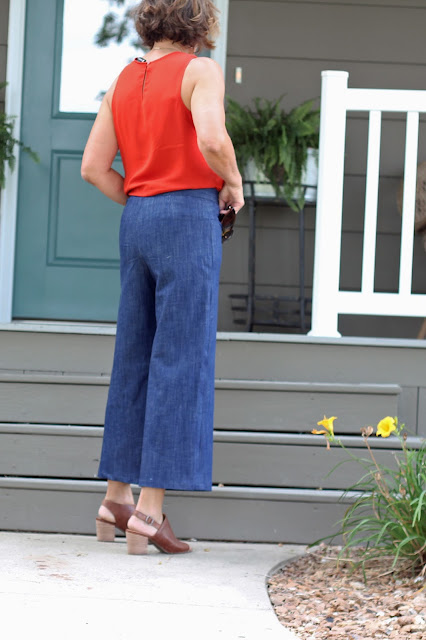 McCall's 7445 wide leg culottes, a Melissa Palmer pattern made in Mood Fabrics' stretch denim - back view