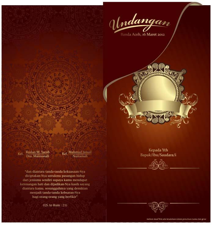 Contoh Design Undangan Pernikahan Warna Merah V3 Cdr File