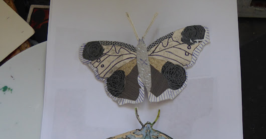 Moths and butterflys.. Collagraph